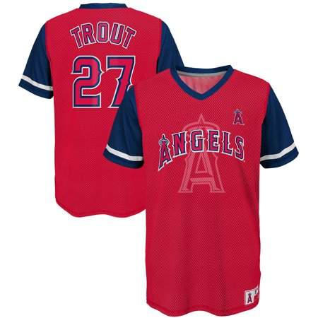 timeless design b3533 2946d Mike Trout Los Angeles Angels Majestic Youth Play Hard Player V-Neck Jersey  T-Shirt - Red/Navy