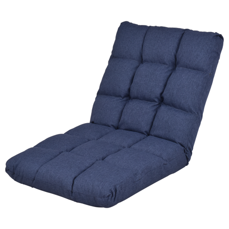 Gymax Adjustable Folding Gaming Chair Cushioned Floor Chair Adjustable Folding Lazy Sofa Blue ()