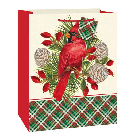 (3 pack) Plaid Red Cardinal Christmas Gift Bag, 13 x 10.5 in, 1ct ()