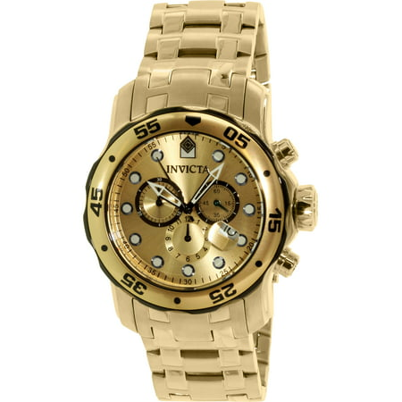 Gold Chronograph Swiss - Invicta Men's Pro Diver 80070 Gold Stainless-Steel Swiss Chronograph Dress Watch