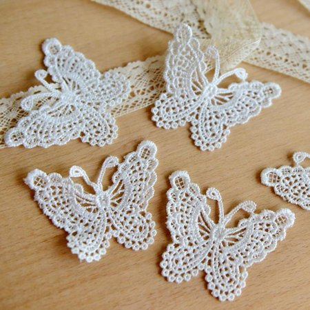 Holiday Clearance Hollow out Lace Embroidery Stickwork Sticker Butterfly Cloth Clothes Applique Decal Water Soluble Mesh DIY
