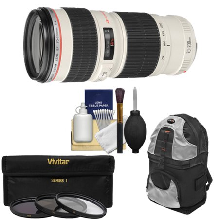 Canon EF 70-200mm f/4 L USM Zoom Lens with Backpack + 3 UV/ND8/CPL Filters + Kit for EOS 6D, 70D, 5D Mark II III, Rebel T3, T3i, T4i, T5, T5i, SL1 DSLR