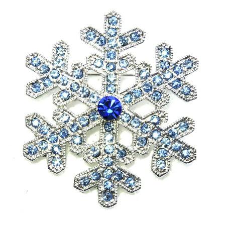 Faship Gorgeous Rhinestone Crystal Snowflake Pin -