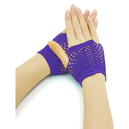 Women's Wrist Length Stretchy Fingerless Fishnet Gloves 2 Pairs - Fishnet Gloves Fingerless
