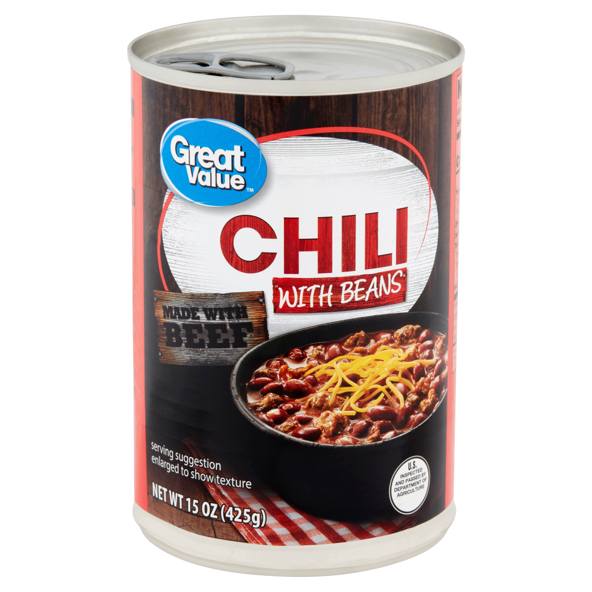 (4 Pack) Great Value Chili with Beans, 15 oz