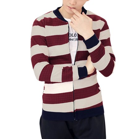 Men Stand Collar Long Sleeves Stripes Full Zip Jackets