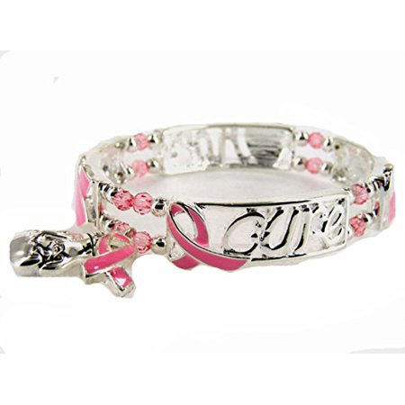 Breast Cancer Awareness Bows (Pink Ribbon Boxing Glove Stretch Bracelet Hope For A Cure Breast Cancer)