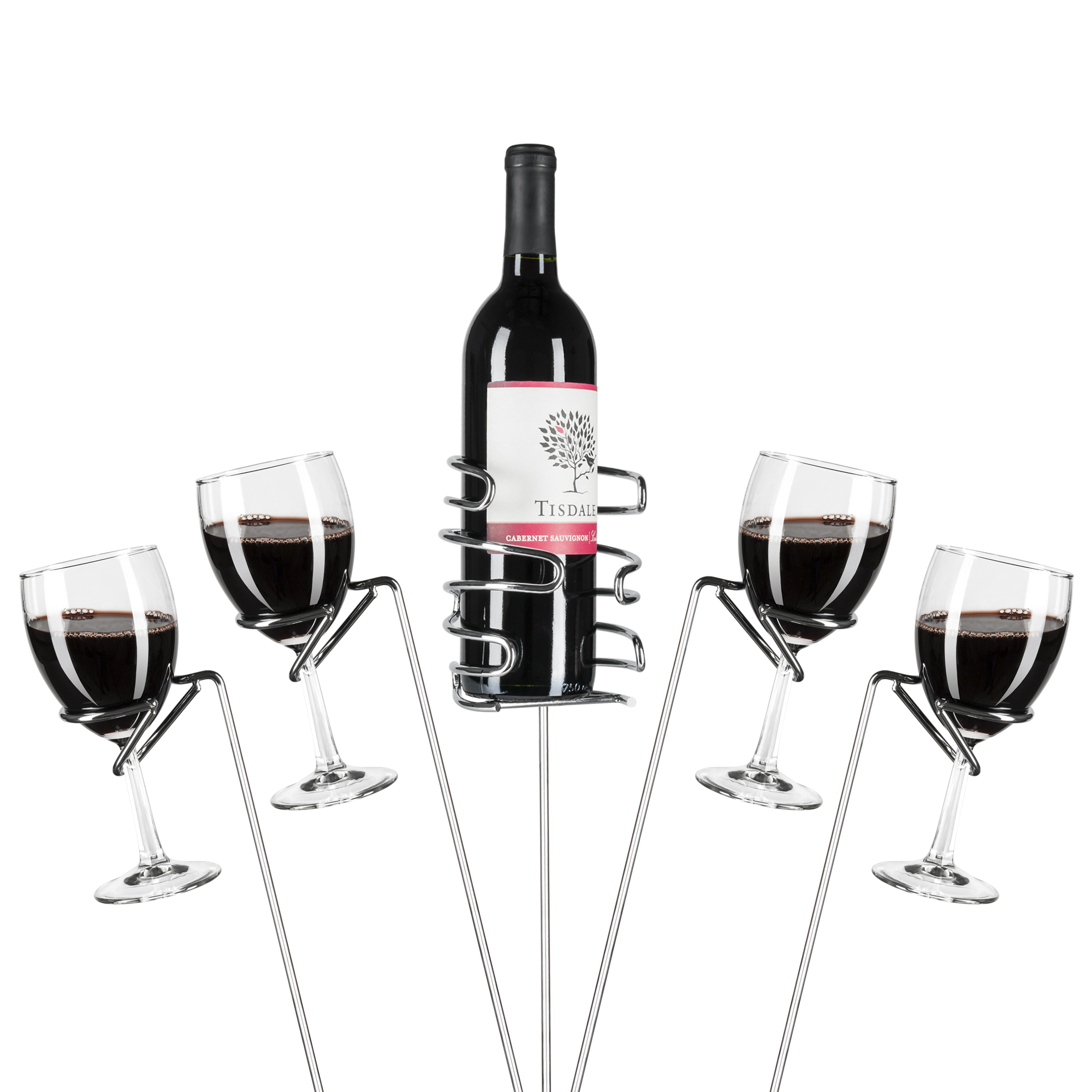 Best Choice Products 5-Piece Reinforced Stainless Steel Wine Glass Rack Holder Stakes Set for Bottles, Candles, Hands-Free Outdoor Picnics, Travel - Silver
