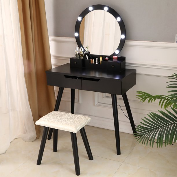 Led Bulb Mirror Dressing Table Set, Led Mirror Dressing Table And Stool