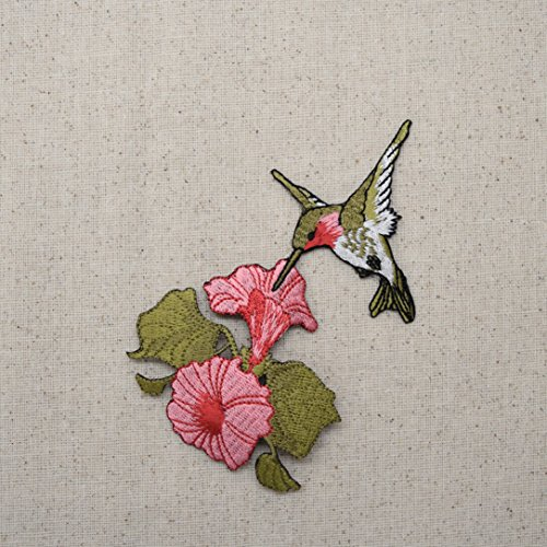 Large - Hummingbird - Ruby Red Throat - Pink Flowers - Iron on Embroidered Applique Patch