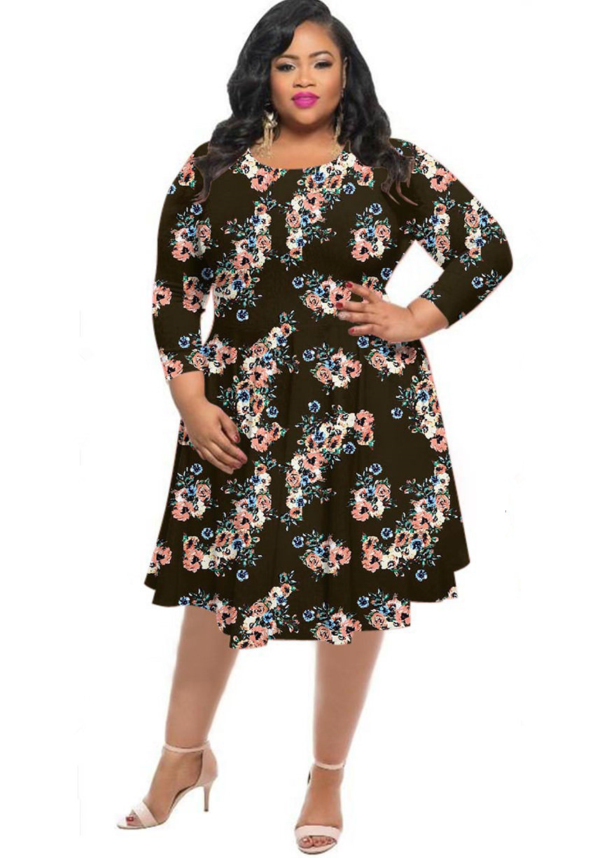 6707f52575b SENFLOCO - Senfloco Plus Size Dresses for Women -XL-4XL Floral Round Neck  Tunic Swing Party Dresses in Vintage Style - Walmart.com