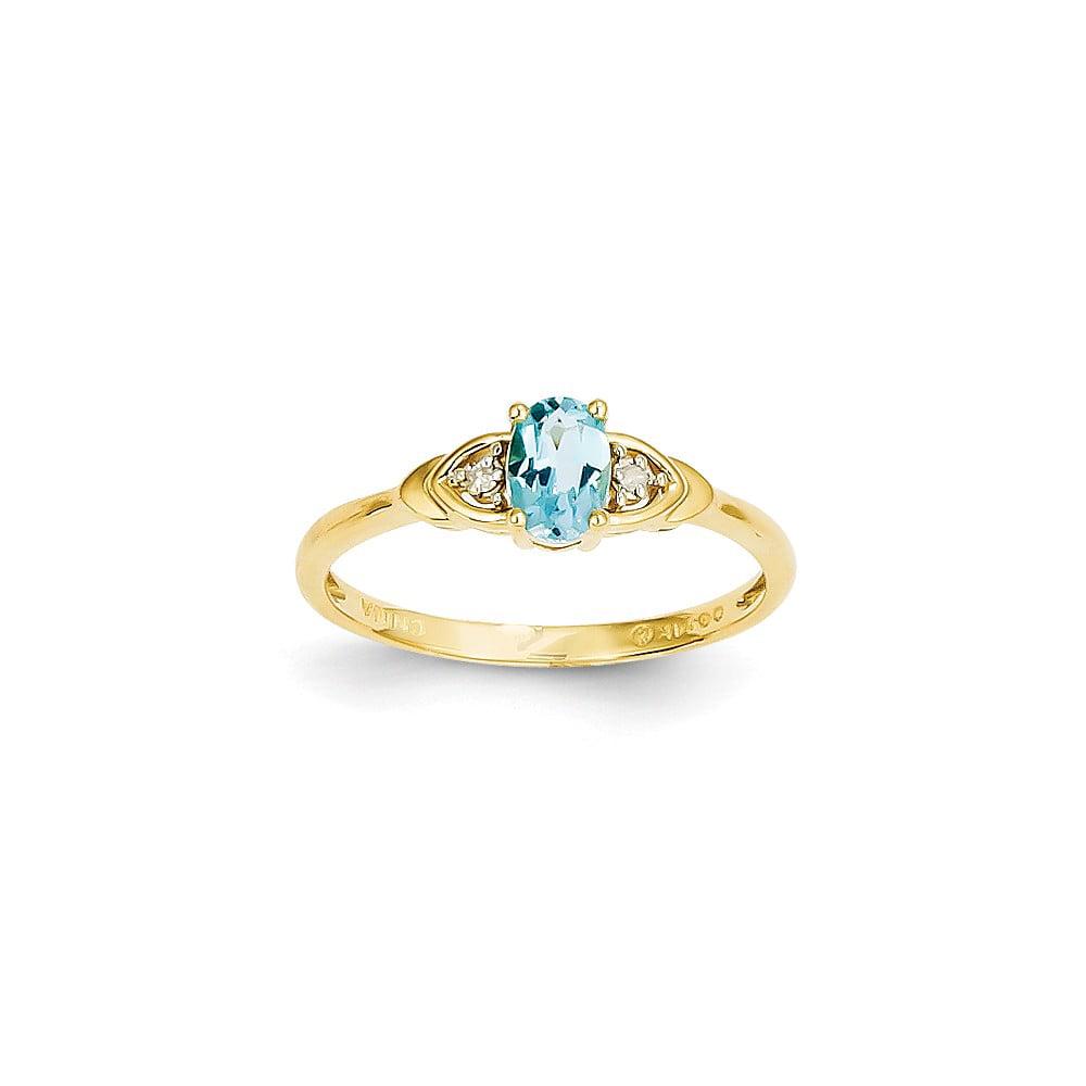 14k Yellow Gold 6x4 Oval Diamond & Blue Topaz Ring. Gem Wt- 0.57ct