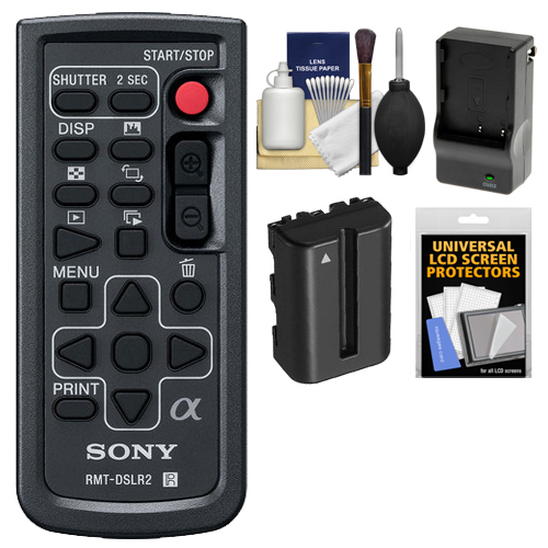 Sony RMT-DSLR2 Wireless Remote Shutter Controller with NP-FM500H Battery & Charger   Cleaning & Accessory Kit for Alpha A33, A55, A57, A65, A77, A99, NEX-5/5N/5R, NEX-6, NEX-7 Cameras