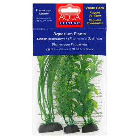 Plant In Black Fish Bowl - Aqua Culture Aquarium Plants with Ceramic Base Value Pack, 3 Count