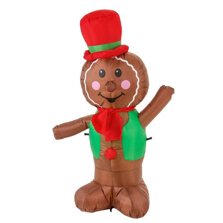 Christmas Master 4ft Inflatable Christmas Gingerbread Man Cookie Yard Decoration (Hanukkah Inflatable Decorations)