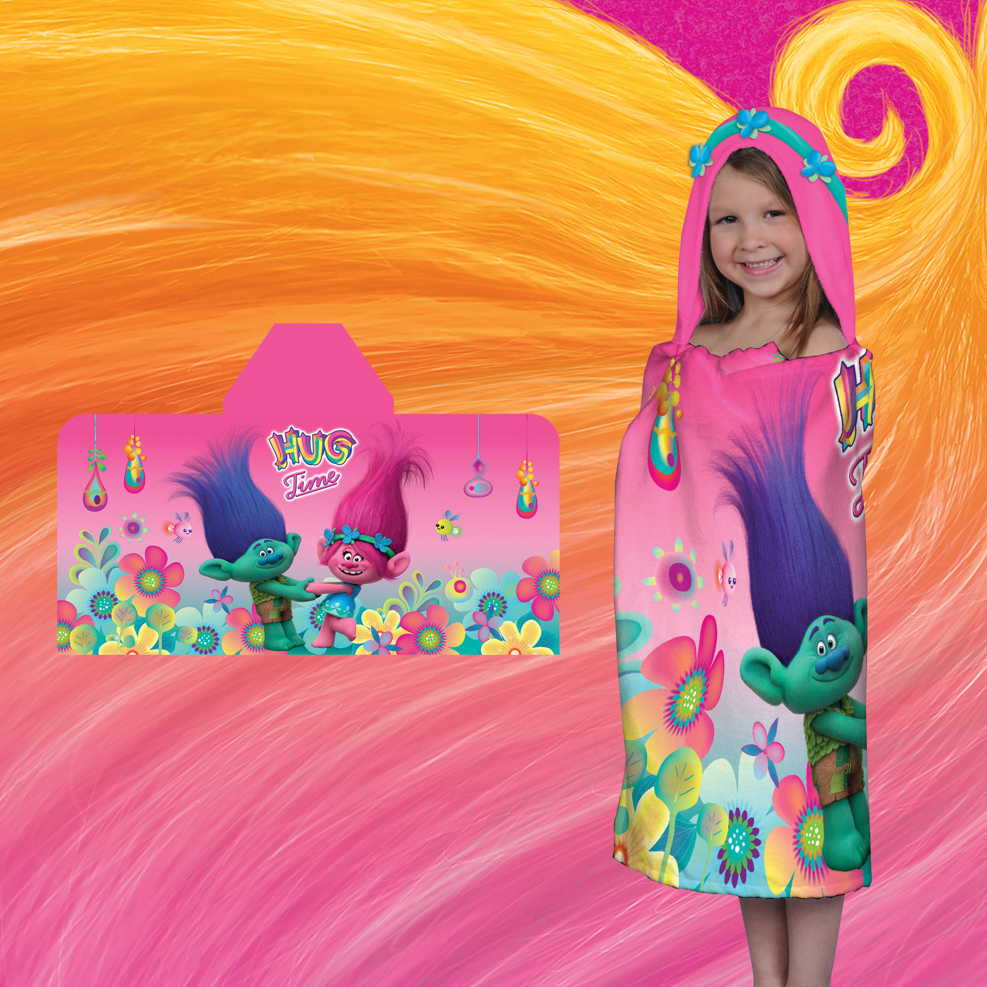 Dream Works' Trolls Hug Time Kids Hooded Bath Towel by Franco