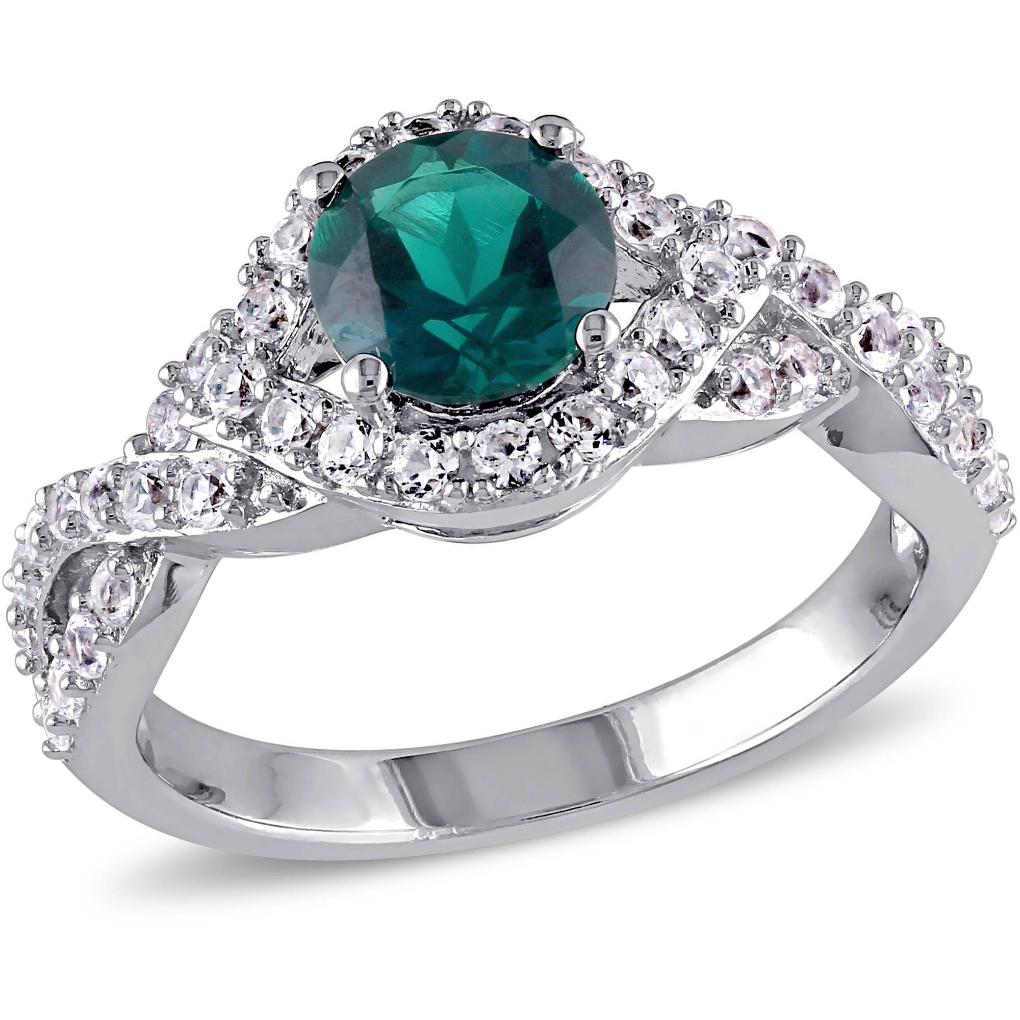 Tangelo 1-4/5 Carat T.G.W. Created Emerald and Created White Sapphire Sterling Silver Halo Infinity Ring