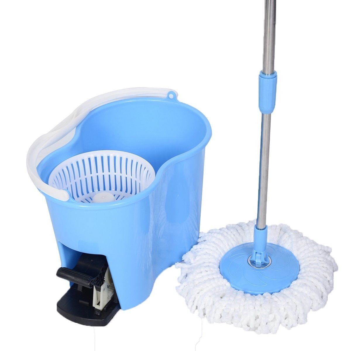 Magic Spin Mop Microfiber Spining W/Bucket 2 Heads 360� Rotating Floor Mop Easy Blue