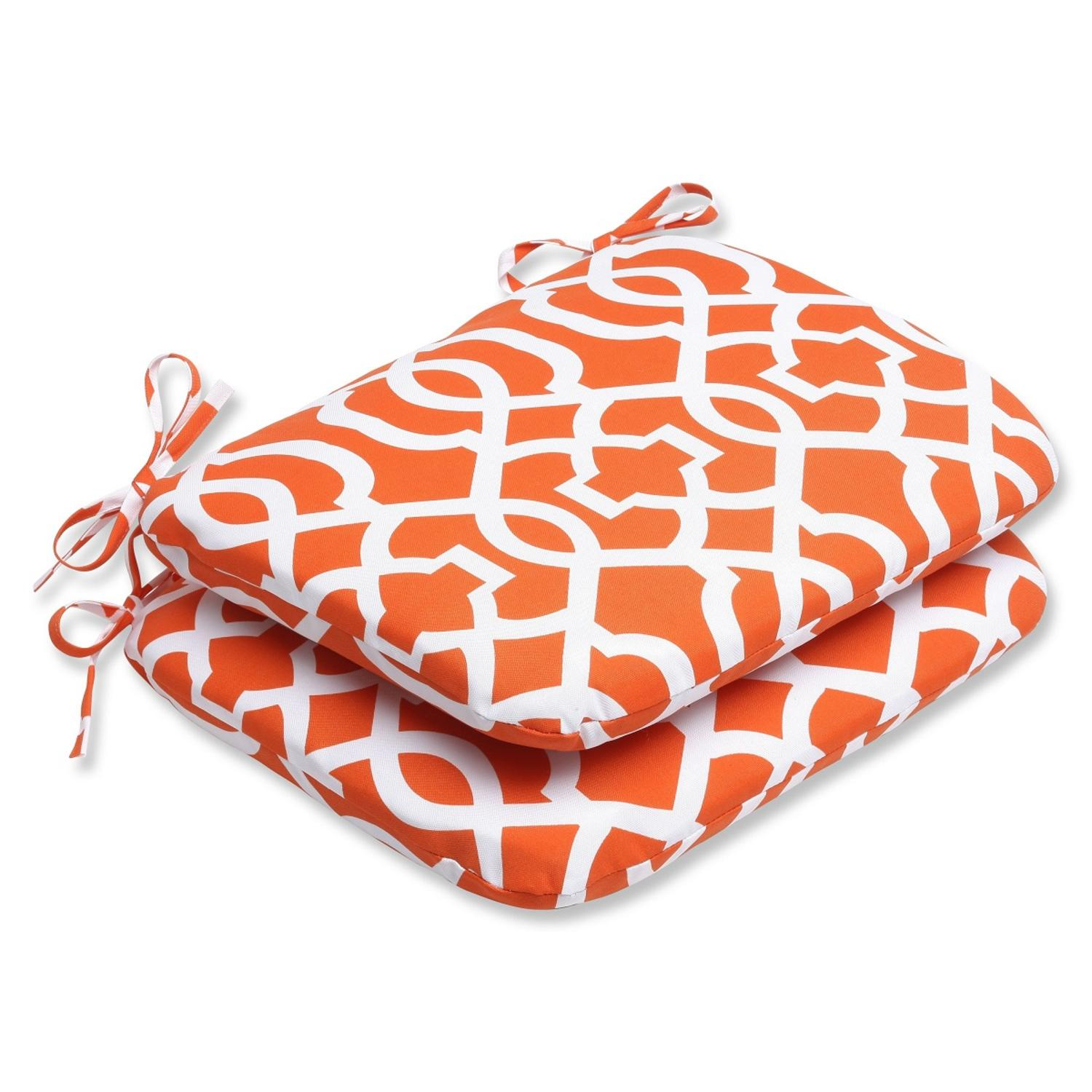 Set of 2 Labirinto Geometrico Orange and White Outdoor Patio Rounded Chair Cushions 18.5""