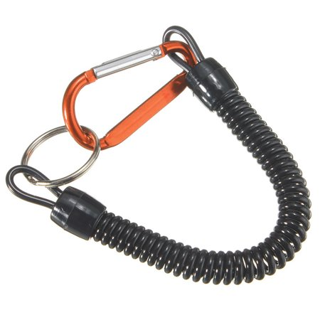 Buckle Grips - 2PCS DarkOrange Fish Missed Rope Pole Rod Protector Elastic Line Fishing Lanyards Tackle Secure Pliers extendable Lip Grips Tools Plastic Coiled Metal Ring Buckle Boating Kayak
