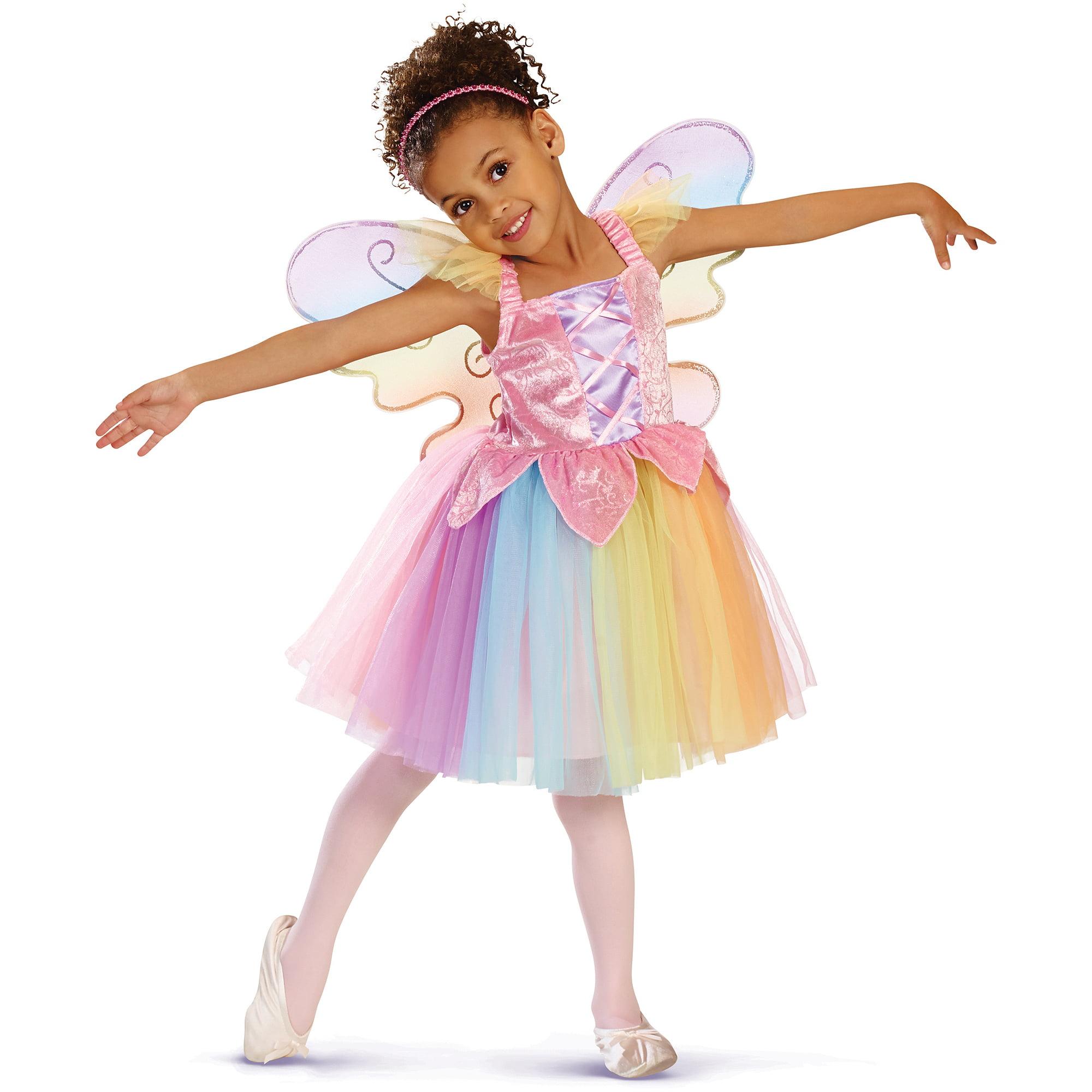 sc 1 st  Walmart & Wish I Was Girlsu0027 Fairy Dress with Wings Set Rainbow - Walmart.com