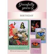 Gracefully Yours Blessed Birthday Greeting Cards featuring Butterflies by Artist Larry Martin, 12, 4 designs/3 each with Scripture Message