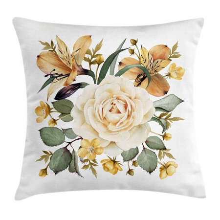 Rose Throw Pillow Cushion Cover, Romantic Floral Arrangement Bridal Bouquet Corsage Spring Wedding Theme, Decorative Square Accent Pillow Case, 18 X 18 Inches, Pale Orange Cream Green, by Ambesonne - Halloween Themed Wedding Bouquets