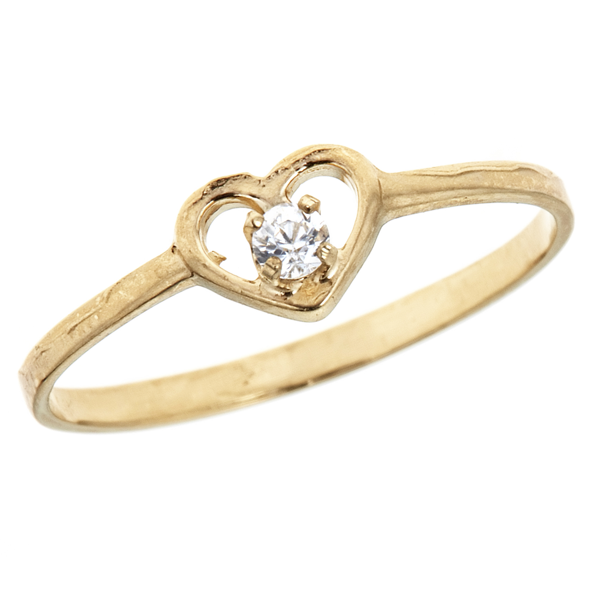 Children's 14K Solid Yellow Gold Baby Cubic Zirconia Open Heart Ring Kids Size 3.5