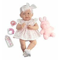"JC Toys La Newborn All-Vinyl-Anatomically Correct Real Girl 15"" Doll in White Eyelet Dress with Fluffy Bunny and Accessories Designed by Berenguer"
