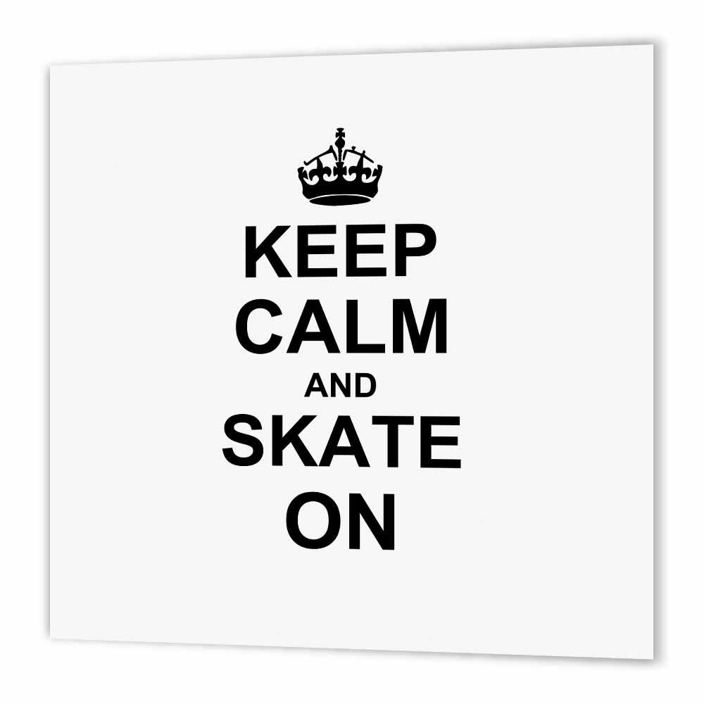 3dRose Keep Calm and Skate on - carry on skating - funny skateboarding ice skater or roller skating gifts, Iron On Heat Transfer, 6 by 6-inch, For White Material