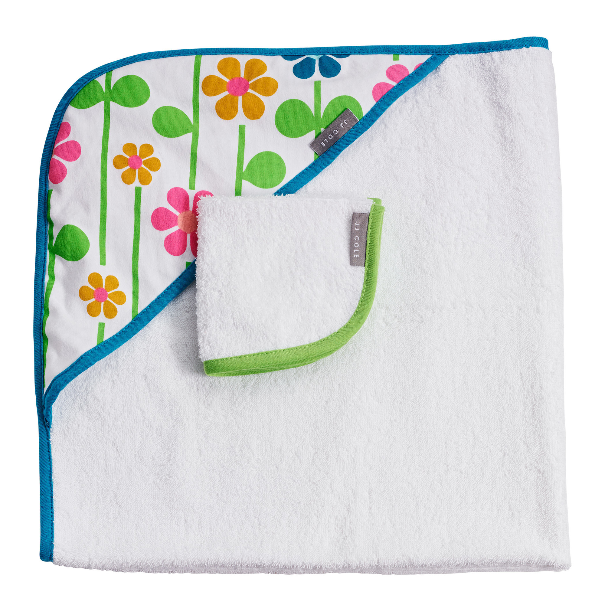 JJ Cole Hooded Towel and Washcloth Set Summer Garden by JJ Cole