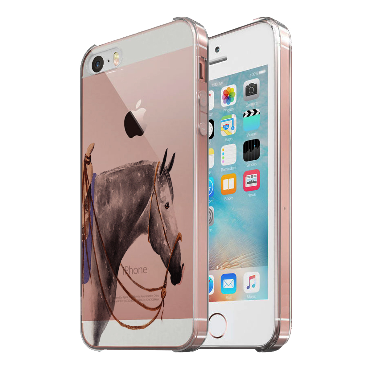 KuzmarK Clear Cover Case fits iPhone SE & iPhone 5 - Dappled Gray Quarter Horse Art by Denise Every