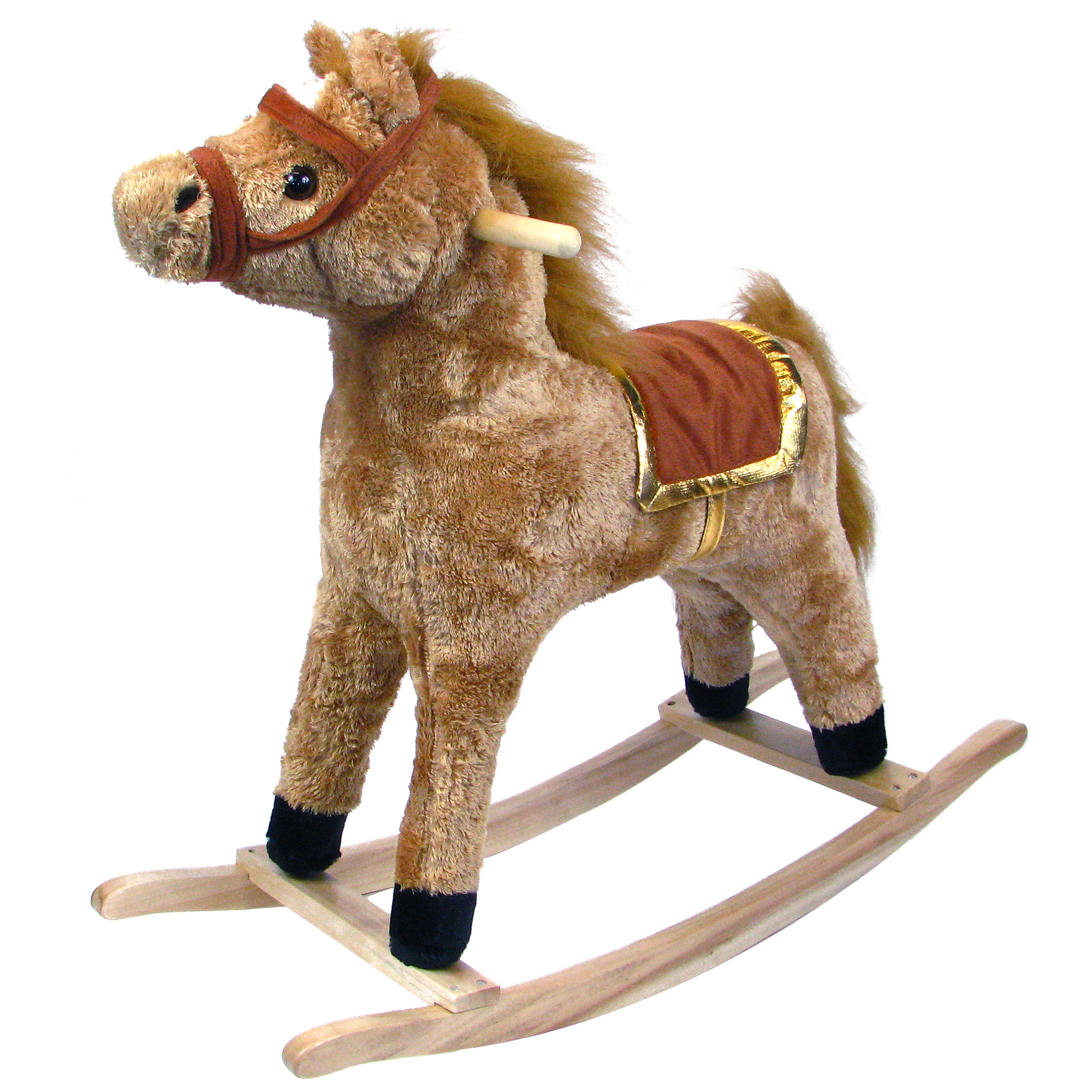 Plush Rocking Horse, Brown Ride On Rocking Animal Toy by Happy Trails