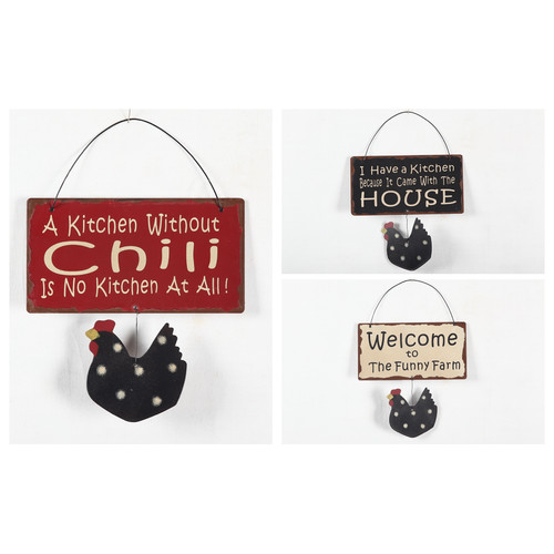 Attraction Design Home 3 Piece Metal Sign with Hen Wall D cor Set