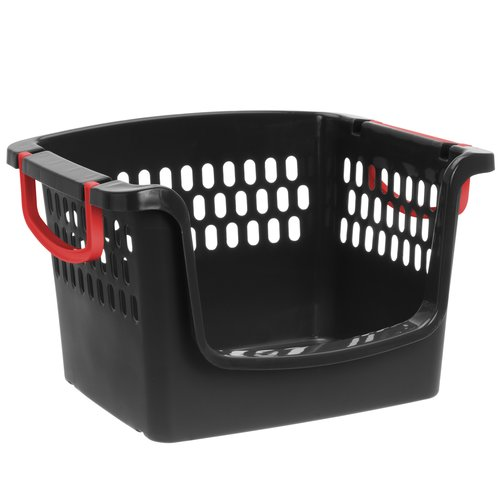 Mainstays Large Stacking Bin, Black/Red