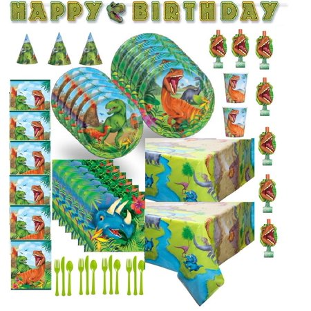 Dinosaur Deluxe Birthday Party Set for 16 Guests - Shipped USPS Priority - Dinosaur Birthday