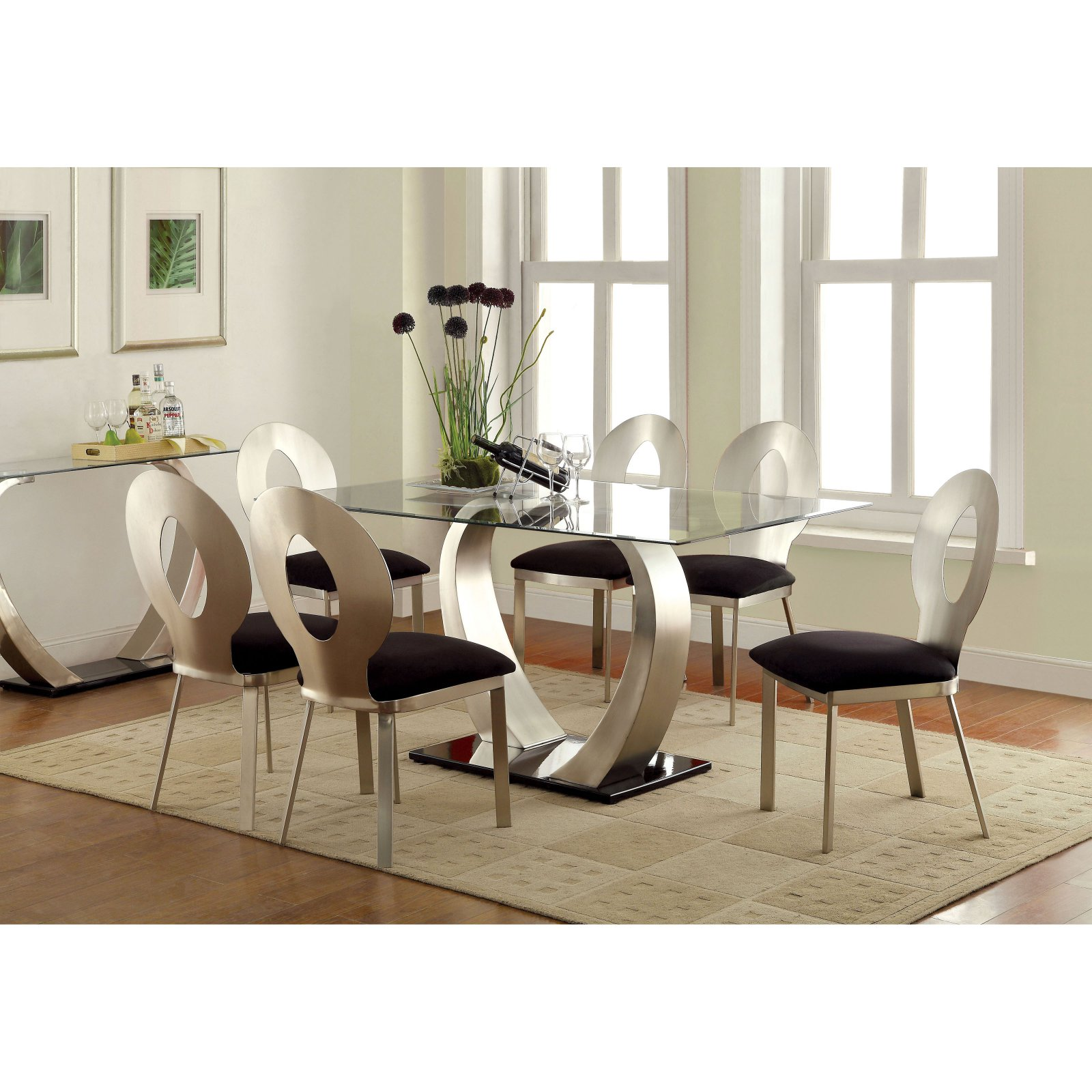 Furniture of America Sparling 7 Piece Dining Table Set with Open Back Chairs