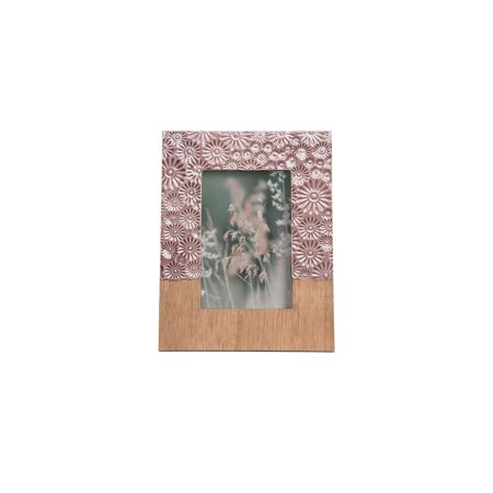 Foreside Home & Garden Purple Embossed Floral Pattern 4 x 6 inch Decorative Wood and Resin Picture Frame