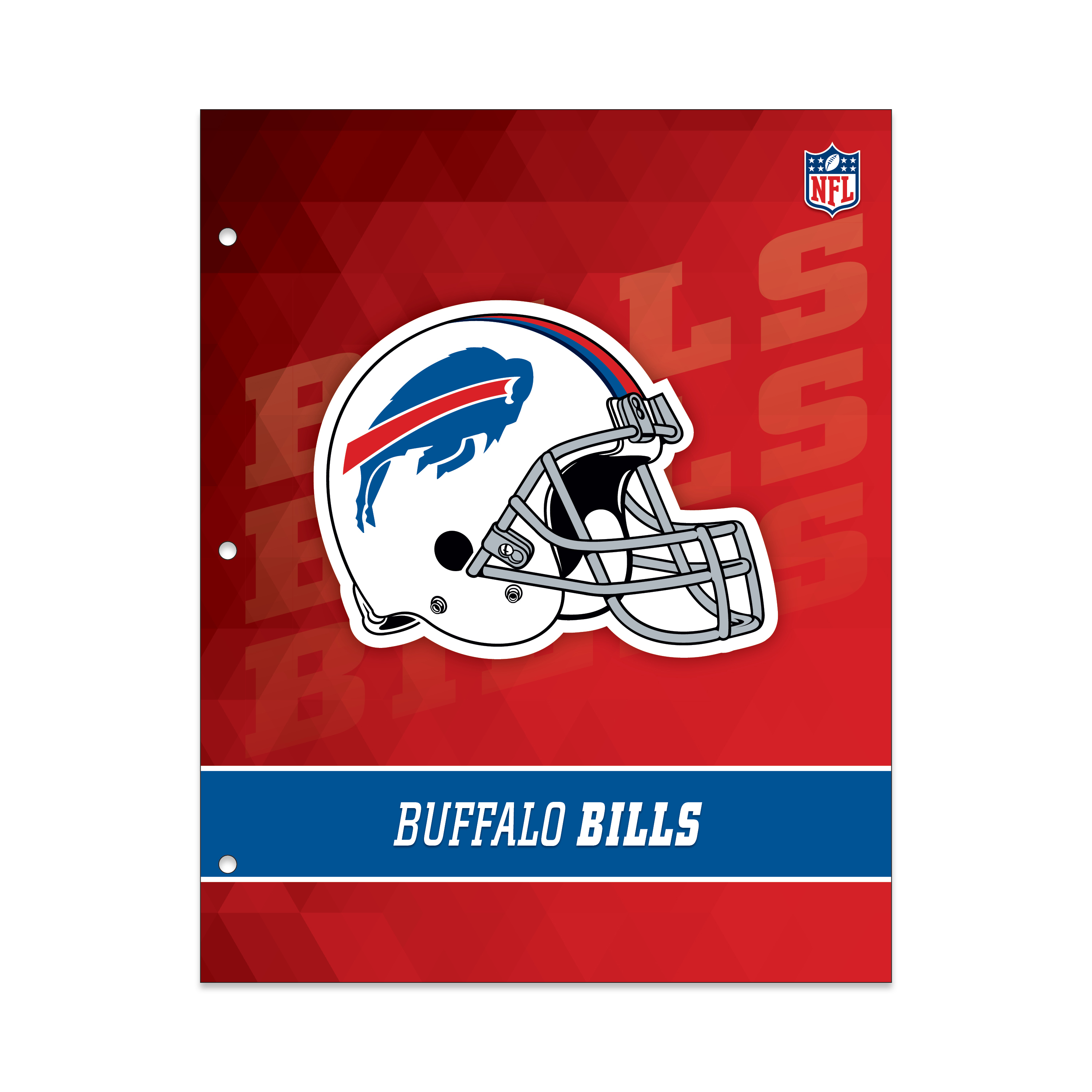 NFL Buffalo Bills 2 Pocket Portfolio, Three Hole Punched, Fits Letter Size