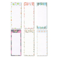6-Pack To-Do List Notepads, Magnetic Note Pad, Grocery List, Reminder with Magnet, Floral Designs, for Stick onto Fridge, 60 Sheets Per Pad, 3.5 x 9 inches