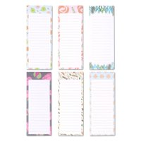 6-Pack Magnetic Notepad Grocery List, To Do List Shopping Note Pad Notepads Reminders for Fridge Refrigerator Magnet Memo Pad Stationery, Floral Designs, 60 Sheets Per Pad