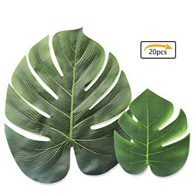 purture tropical palm leaves simulation leaf artificial tropical green plant leaves 13 inch and 8 inch combination leaves for hawaiian luau party decoration shipping by fba (20 pieces)