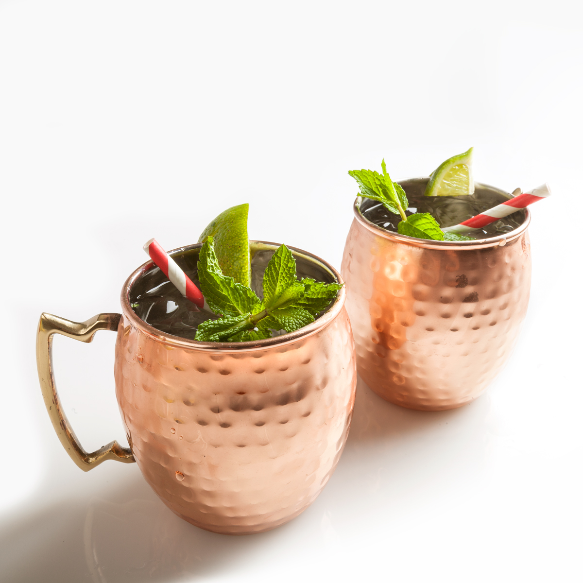 20 Oz. Hammered Copper-Plated Moscow Mule Mug with Brass Handle