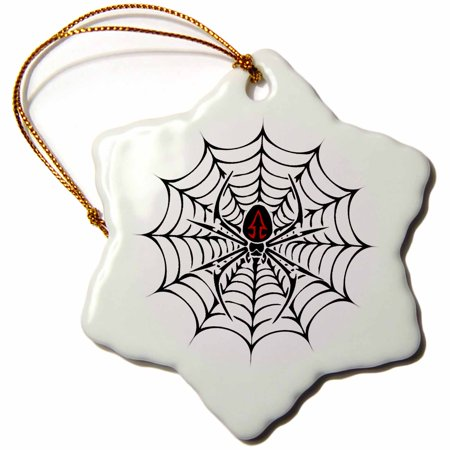 3dRose Black Widow Spider in a Web - Snowflake Ornament, 3-inch