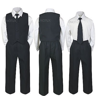 4pc INFANT BABY TODDLER TEEN BOY WEDDING FORMAL PARTY VEST SUIT BLACK sz S-20 - Baby Boy Infant