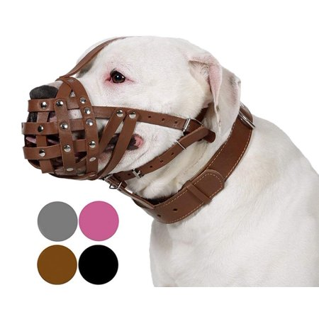 CollarDirect Leather Dog Muzzle Boxer American Bulldog Basket for Large Dogs, Brown (Dog Basket Muzzle)