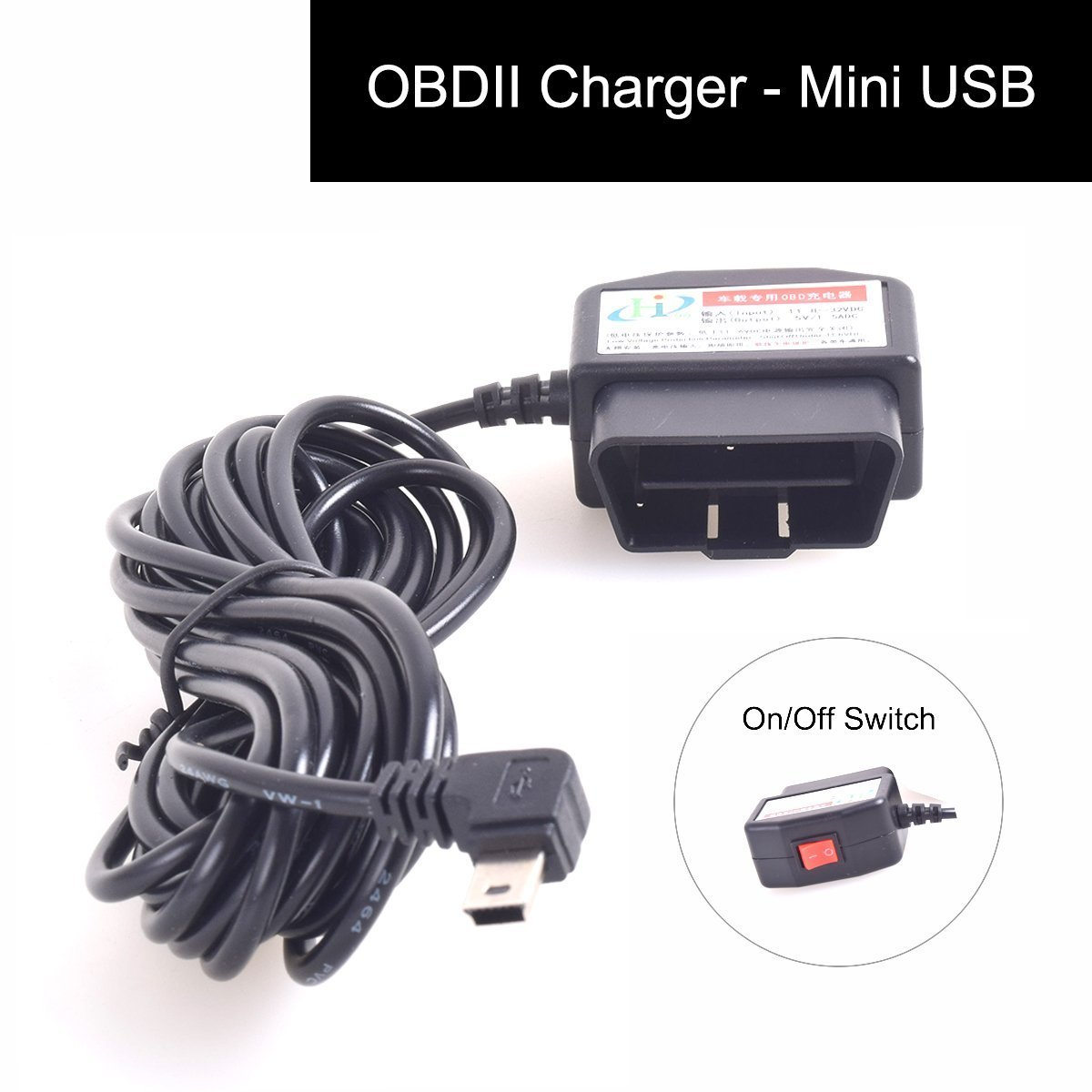 Auto OBD2 Charging Cable Mini USB Power Adapter with Switch Button - 16Pin  OBD2 Connector Direct Link Car Charger for Gps DVR Dash Cam E-dog Phone -