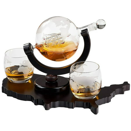 Elegant Whiskey Decanter Set - Etched Globe Design with 2 Glasses on USA Map Tray - Impressive Bar Set