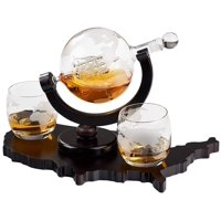 Elegant Whiskey Decanter Set - Etched Globe Design with 2 Glasses on USA Map Tray - Impressive Bar Set