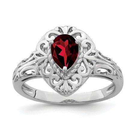 Sterling Silver 2 MM Garnet Teardrop Ring, Size (Garnet Heart Drop)